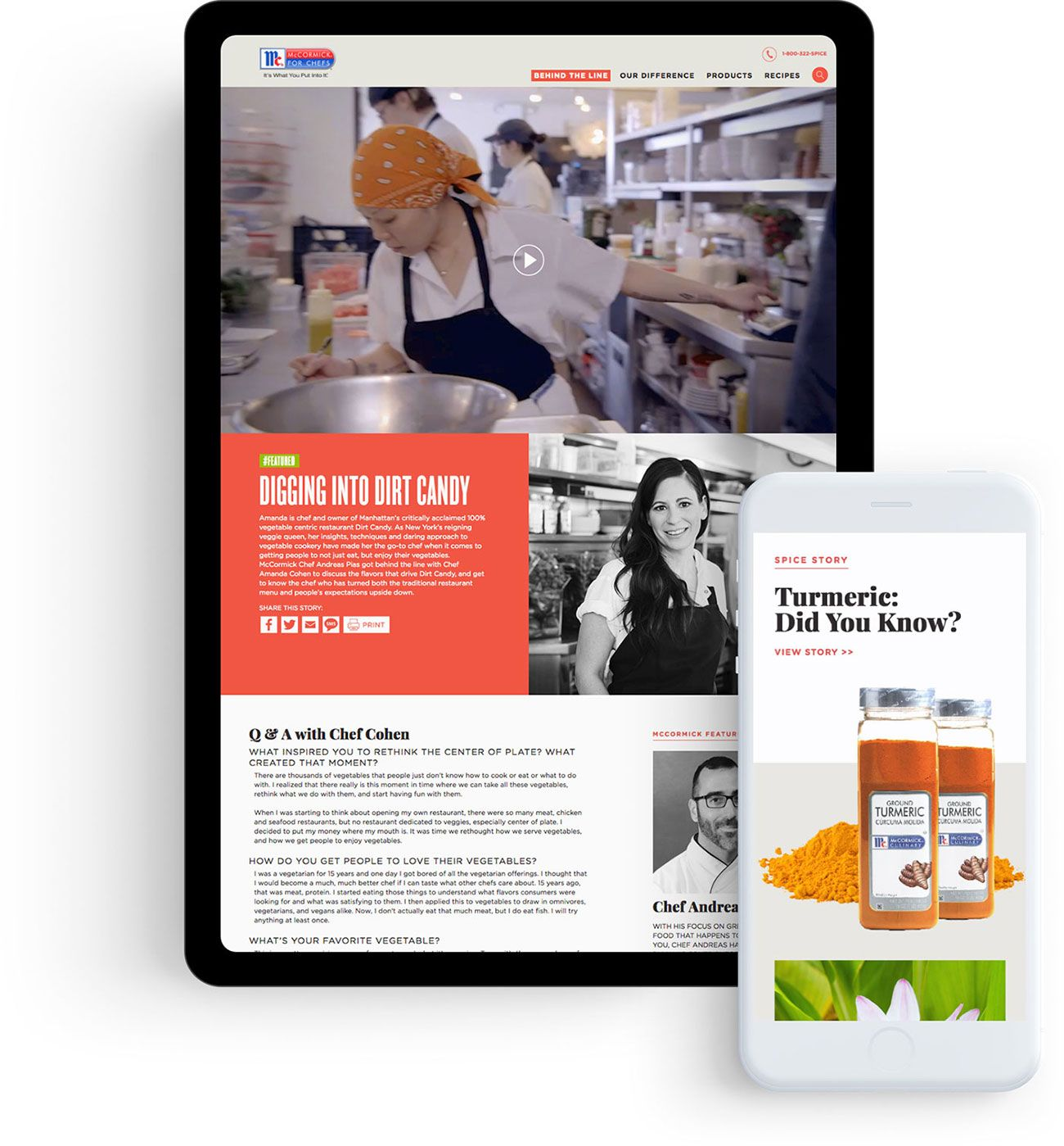 Snack Shop's website redesign of McCormick for Chefs on tablet and mobile devices