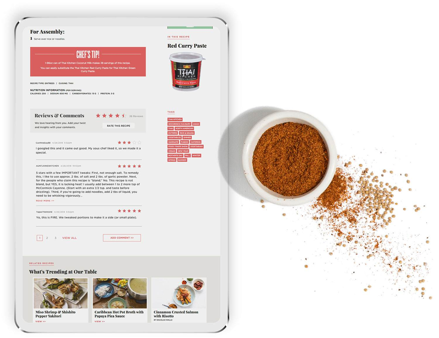 McCormick For Chefs Website Recipe Section